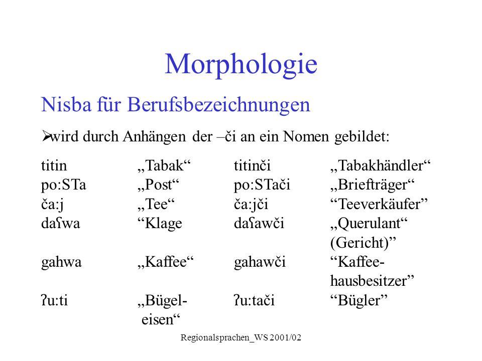 """Regionalsprachen_WS 2001/02 Morphologie Nisba für Berufsbezeichnungen  wird durch Anhängen der –či an ein Nomen gebildet: titin""""Tabak""""titinči """"Tabakh"""