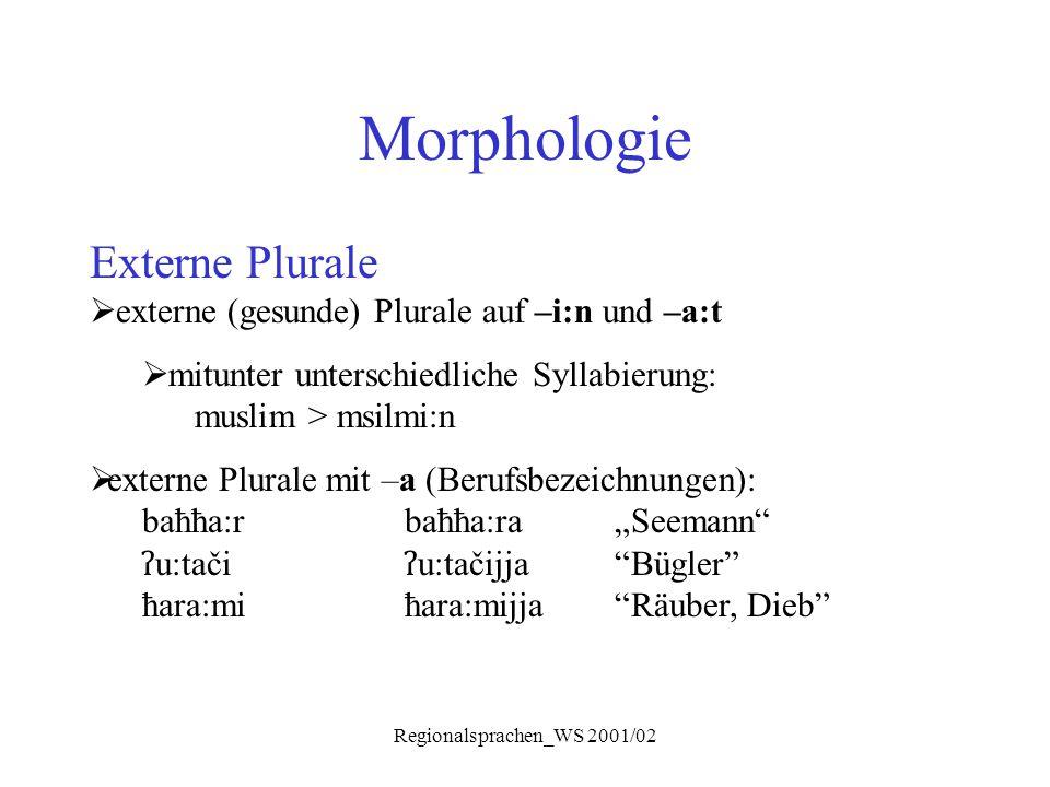 Regionalsprachen_WS 2001/02 Morphologie Externe Plurale  externe (gesunde) Plurale auf –i:n und –a:t  mitunter unterschiedliche Syllabierung: muslim