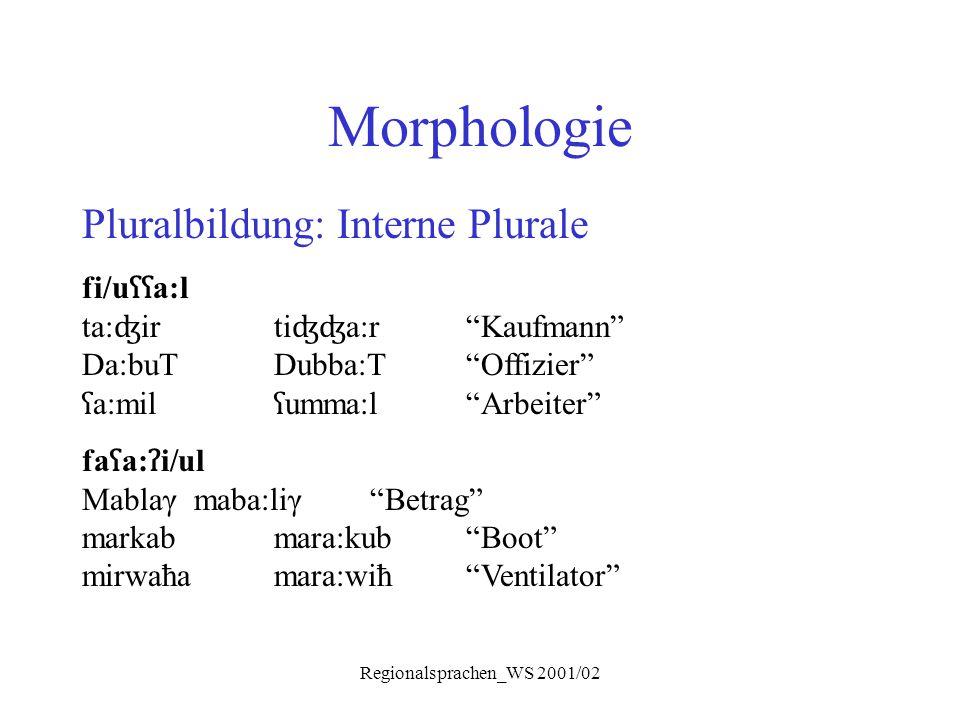 "Regionalsprachen_WS 2001/02 Morphologie Pluralbildung: Interne Plurale fi/u ʕʕ a:l ta: ʤ irti ʤʤ a:r""Kaufmann"" Da:buTDubba:T""Offizier"" ʕ a:mil ʕ umma:"