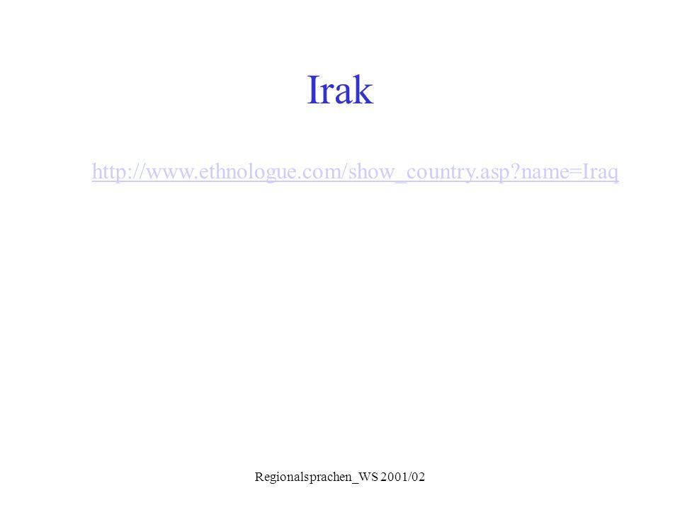 Regionalsprachen_WS 2001/02 Irak http://www.ethnologue.com/show_country.asp?name=Iraq
