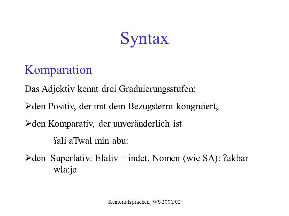 Regionalsprachen_WS 2001/02 Syntax Komparation Das Adjektiv kennt drei Graduierungsstufen:  den Positiv, der mit dem Bezugsterm kongruiert,  den Kom