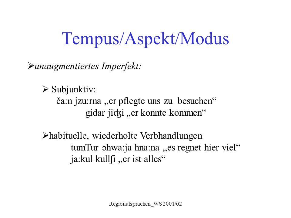 """Regionalsprachen_WS 2001/02 Tempus/Aspekt/Modus  unaugmentiertes Imperfekt:  Subjunktiv: ča:n jzu:rna """"er pflegte uns zu besuchen"""" gidar ji ʤ i """"er"""