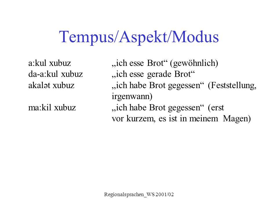 "Regionalsprachen_WS 2001/02 Tempus/Aspekt/Modus a:kul xubuz""ich esse Brot"" (gewöhnlich) da-a:kul xubuz""ich esse gerade Brot"" akalət xubuz""ich habe Bro"