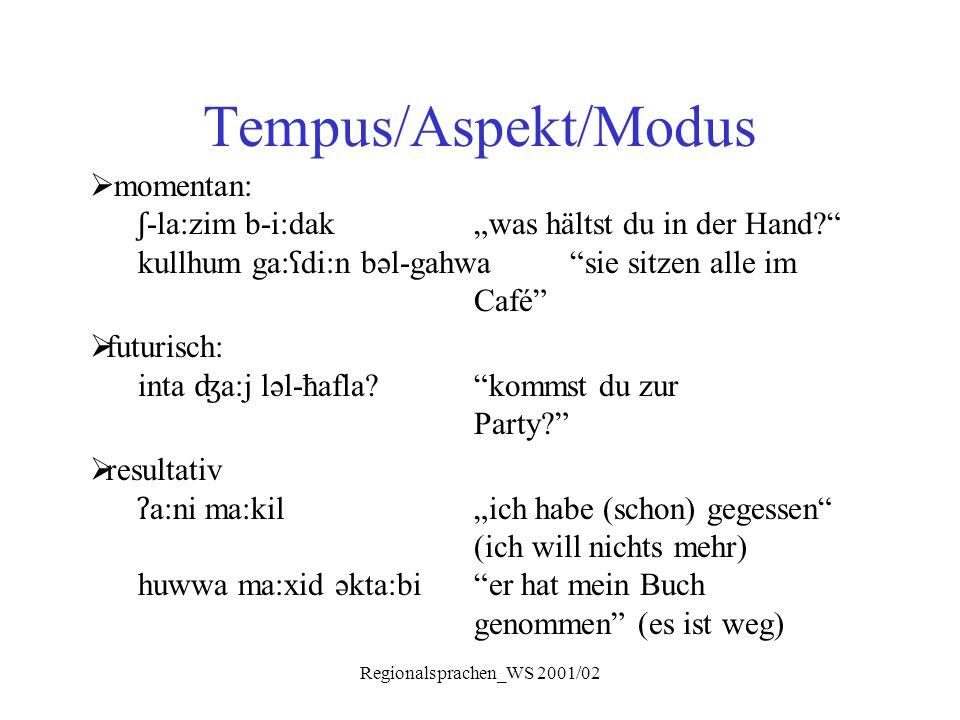 """Regionalsprachen_WS 2001/02 Tempus/Aspekt/Modus  momentan: ʃ -la:zim b-i:dak""""was hältst du in der Hand?"""" kullhum ga: ʕ di:n bəl-gahwa""""sie sitzen alle"""