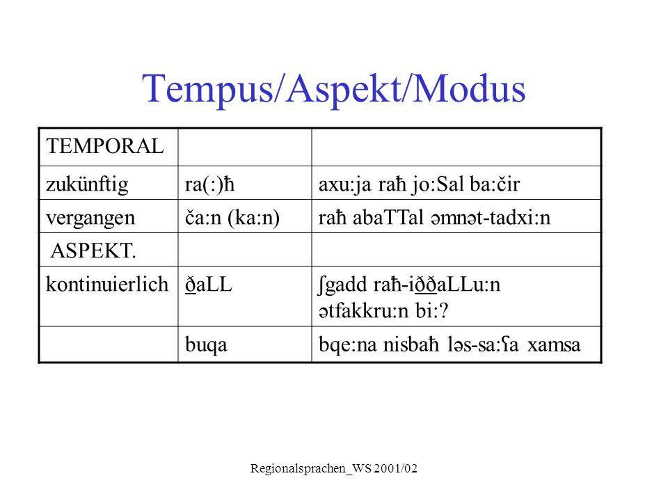 Regionalsprachen_WS 2001/02 Tempus/Aspekt/Modus TEMPORAL zukünftigra(:)ħaxu:ja raħ jo:Sal ba:čir vergangenča:n (ka:n)raħ abaTTal əmnət-tadxi:n ASPEKT.