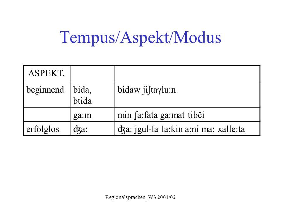 Regionalsprachen_WS 2001/02 Tempus/Aspekt/Modus ASPEKT. beginnendbida, btida bidaw ji ʃ taγlu:n ga:m min ʃ a:fata ga:mat tibči erfolglos ʤ a: ʤ a: jgu