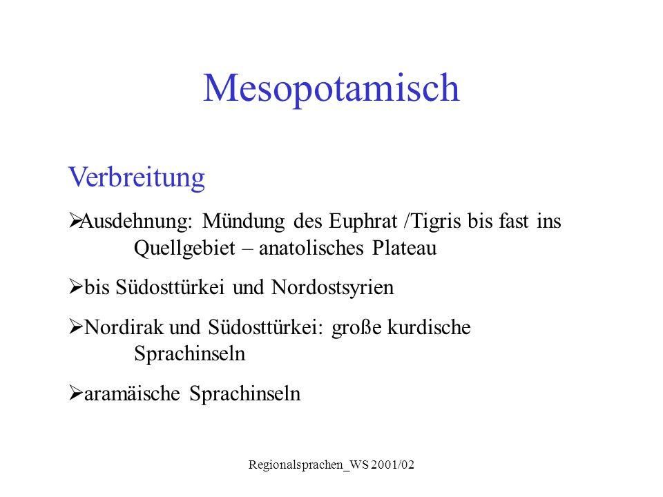 Regionalsprachen_WS 2001/02 Phonologie Silbenstruktur, Prosodie Beispiele: Aar.