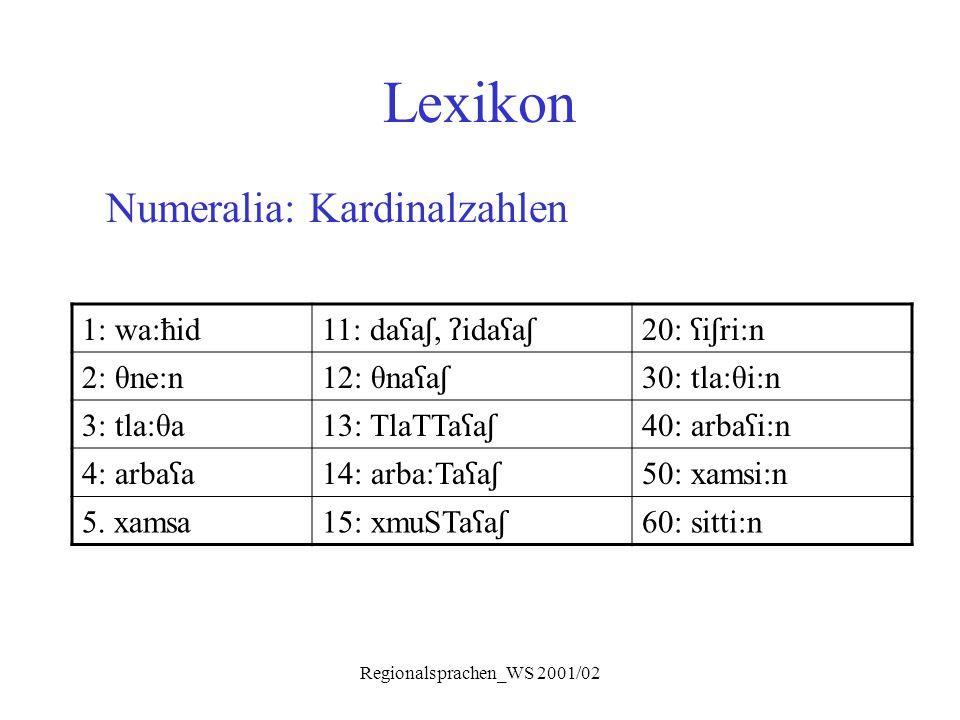 Regionalsprachen_WS 2001/02 Lexikon Numeralia: Kardinalzahlen 1: wa:ħid 11: da ʕ a ʃ, ʔ ida ʕ a ʃ 20: ʕ i ʃ ri:n 2: θne:n 12: θna ʕ a ʃ 30: tla:θi:n 3