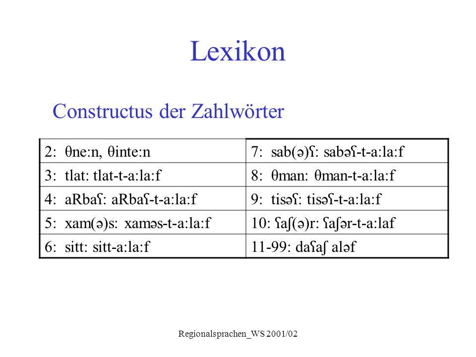 Regionalsprachen_WS 2001/02 Lexikon Constructus der Zahlwörter 2: θne:n, θinte:n 7: sab(ə) ʕ : sabə ʕ -t-a:la:f 3: tlat: tlat-t-a:la:f8: θman: θman-t-