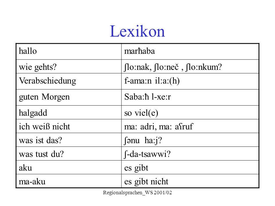 Regionalsprachen_WS 2001/02 Lexikon hallomarħaba wie gehts? ʃ lo:nak, ʃ lo:neč, ʃ lo:nkum? Verabschiedungf-ama:n il:a:(h) guten MorgenSaba:ħ l-xe:r ha