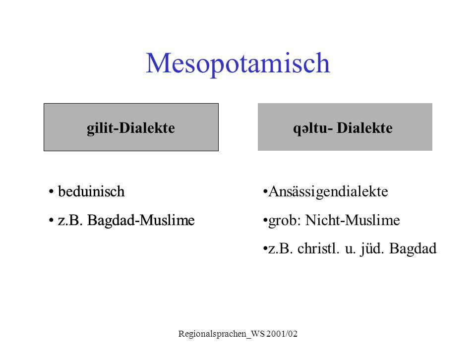 Regionalsprachen_WS 2001/02 Mesopotamisch gilit-Dialekte qəltu- Dialekte beduinisch z.B. Bagdad-Muslime beduinisch z.B. Bagdad-Muslime Ansässigendiale