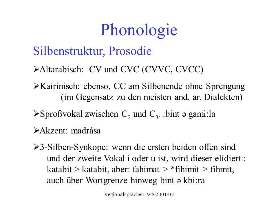 Regionalsprachen_WS 2001/02 Phonologie Silbenstruktur, Prosodie  Altarabisch: CV und CVC (CVVC, CVCC)  Kairinisch: ebenso, CC am Silbenende ohne Spr