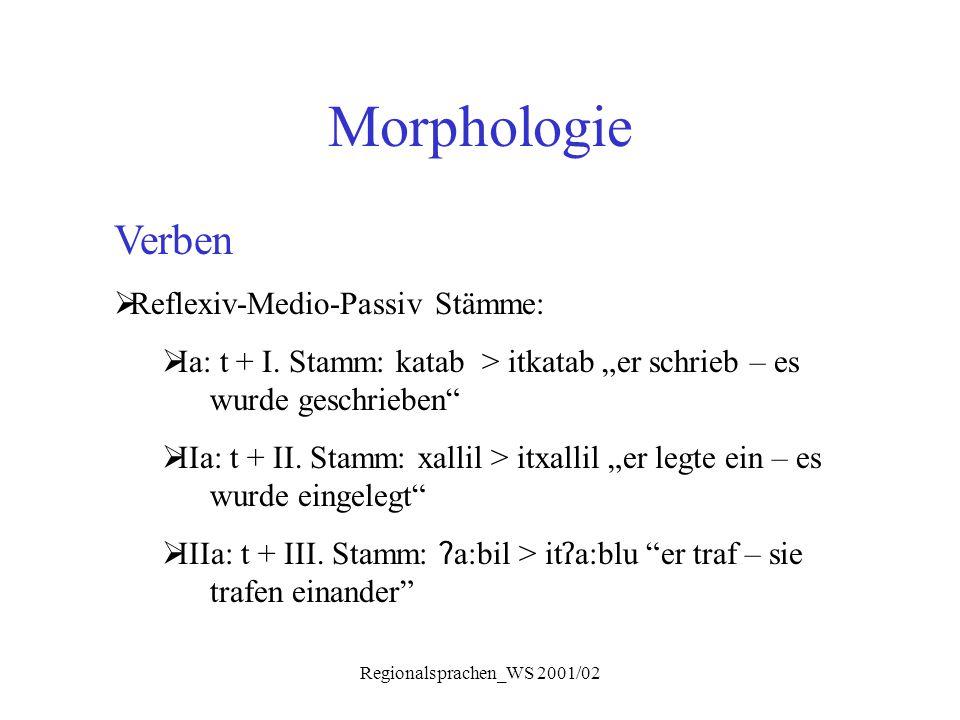 """Regionalsprachen_WS 2001/02 Morphologie Verben  Reflexiv-Medio-Passiv Stämme:  Ia: t + I. Stamm: katab > itkatab """"er schrieb – es wurde geschrieben"""""""