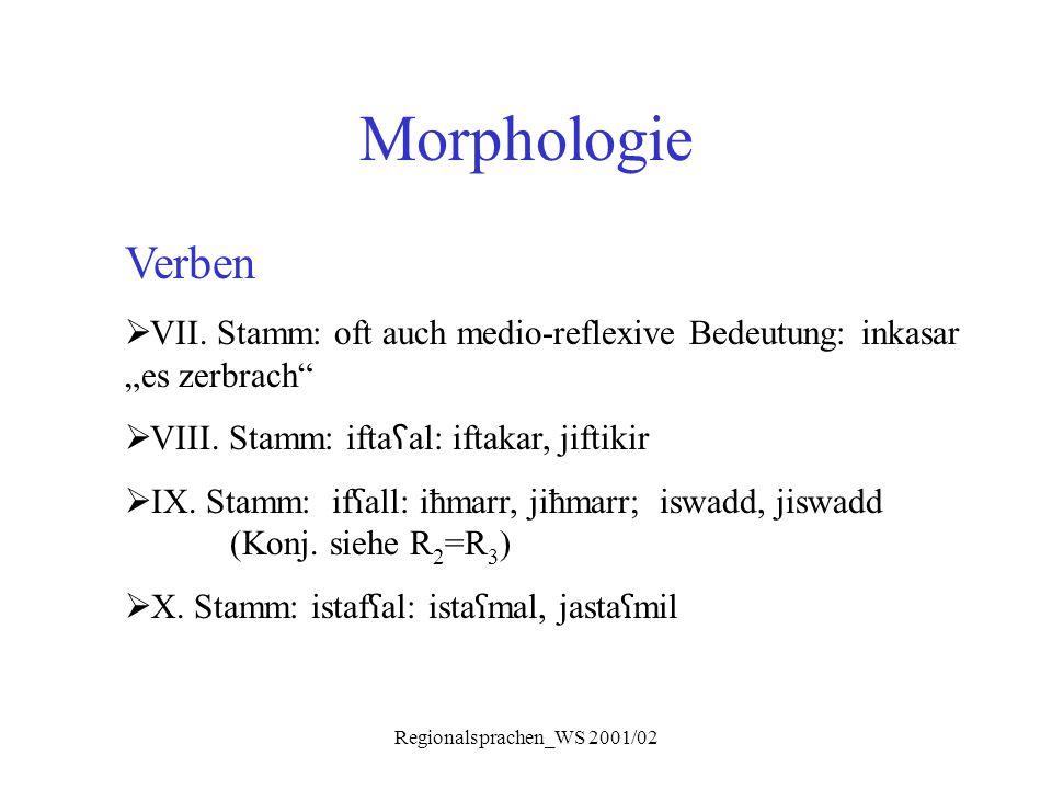 """Regionalsprachen_WS 2001/02 Morphologie Verben  VII. Stamm: oft auch medio-reflexive Bedeutung: inkasar """"es zerbrach""""  VIII. Stamm: ifta ʕ al: iftak"""