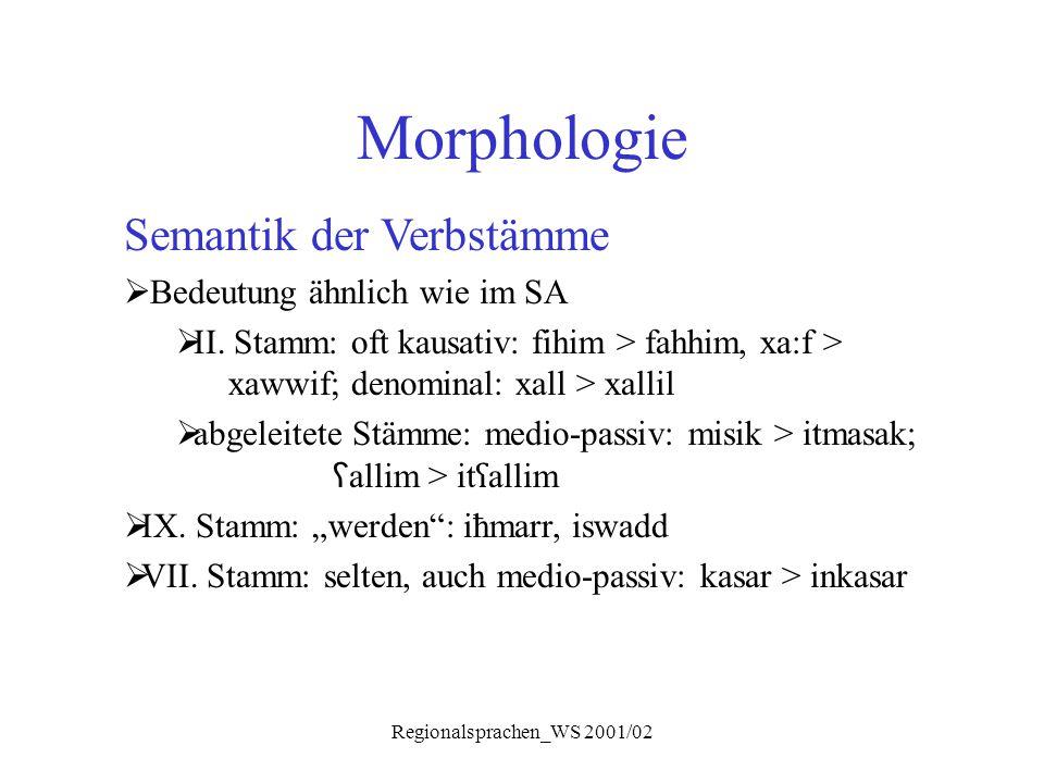 Regionalsprachen_WS 2001/02 Morphologie Semantik der Verbstämme  Bedeutung ähnlich wie im SA  II. Stamm: oft kausativ: fihim > fahhim, xa:f > xawwif