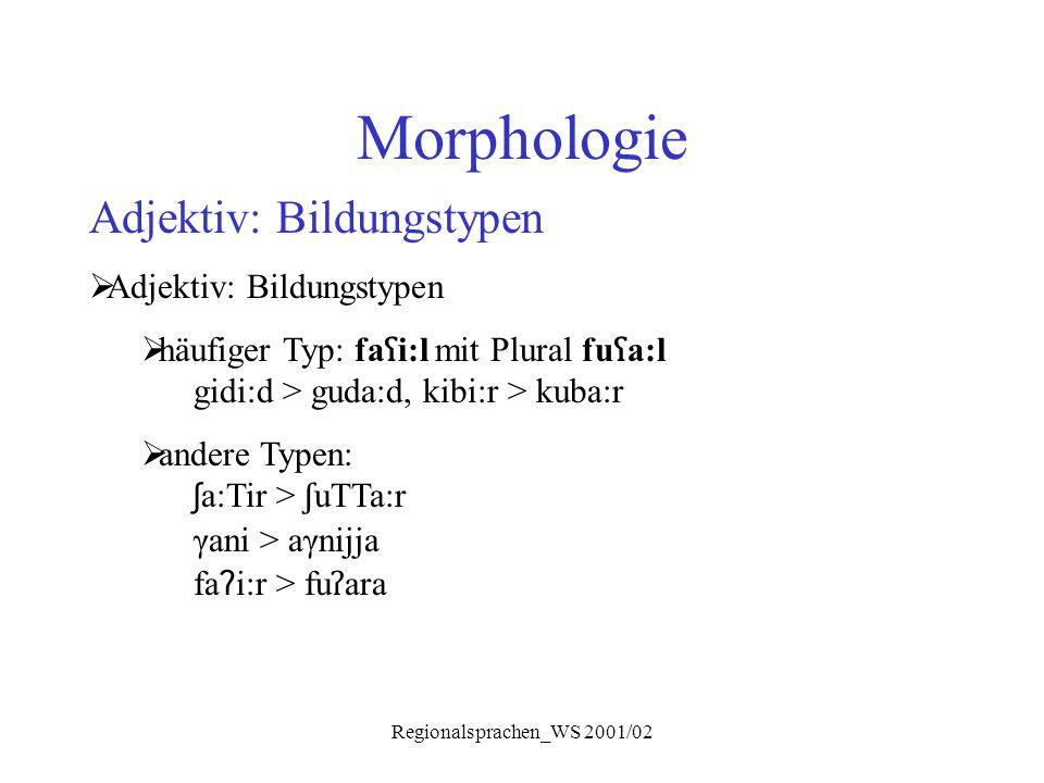 Regionalsprachen_WS 2001/02 Morphologie Adjektiv: Bildungstypen  Adjektiv: Bildungstypen  häufiger Typ: fa ʕ i:l mit Plural fu ʕ a:l gidi:d > guda:d