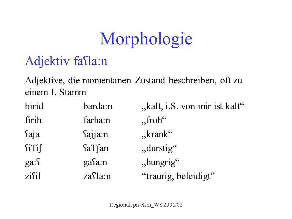 """Regionalsprachen_WS 2001/02 Morphologie Adjektiv fa ʕ la:n Adjektive, die momentanen Zustand beschreiben, oft zu einem I. Stamm biridbarda:n""""kalt, i.S"""