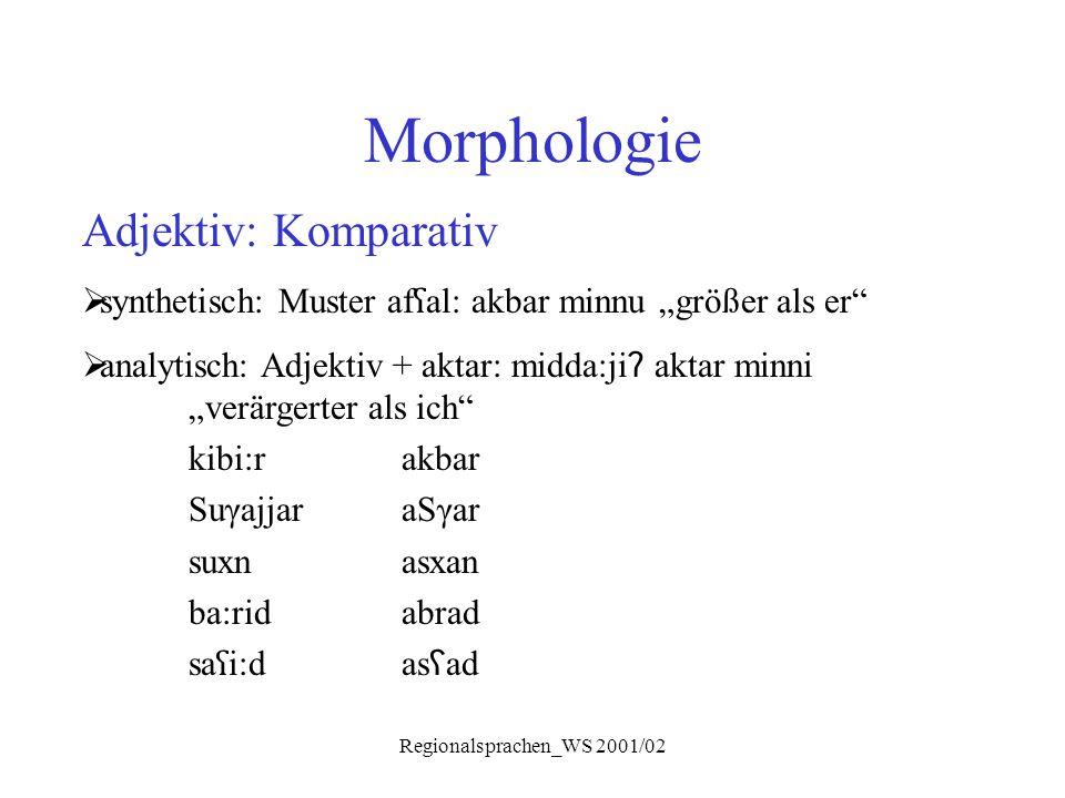 """Regionalsprachen_WS 2001/02 Morphologie Adjektiv: Komparativ  synthetisch: Muster af ʕ al: akbar minnu """"größer als er""""  analytisch: Adjektiv + aktar"""