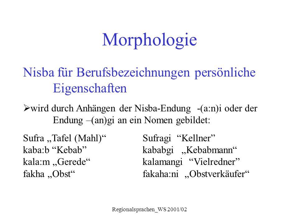 Regionalsprachen_WS 2001/02 Morphologie Nisba für Berufsbezeichnungen persönliche Eigenschaften  wird durch Anhängen der Nisba-Endung -(a:n)i oder de