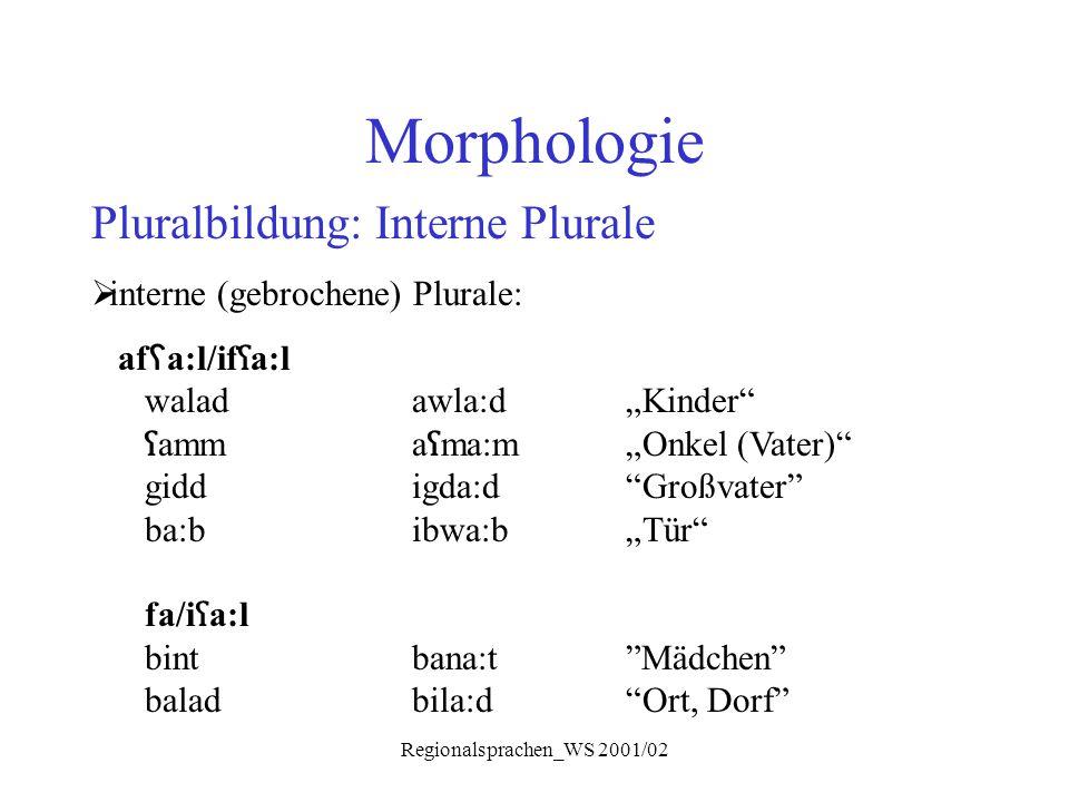 """Regionalsprachen_WS 2001/02 Morphologie Pluralbildung: Interne Plurale  interne (gebrochene) Plurale: af ʕ a:l/if ʕ a:l waladawla:d""""Kinder"""" ʕ amma ʕ"""