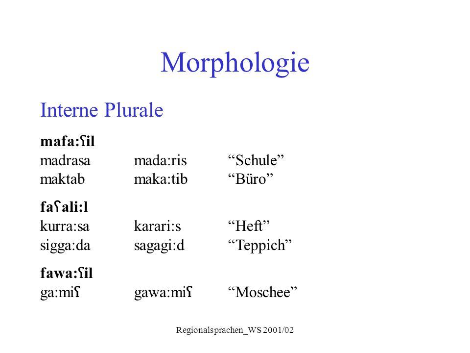 "Regionalsprachen_WS 2001/02 Morphologie Interne Plurale mafa: ʕ il madrasamada:ris""Schule"" maktabmaka:tib""Büro"" fa ʕ ali:l kurra:sakarari:s ""Heft"" sig"