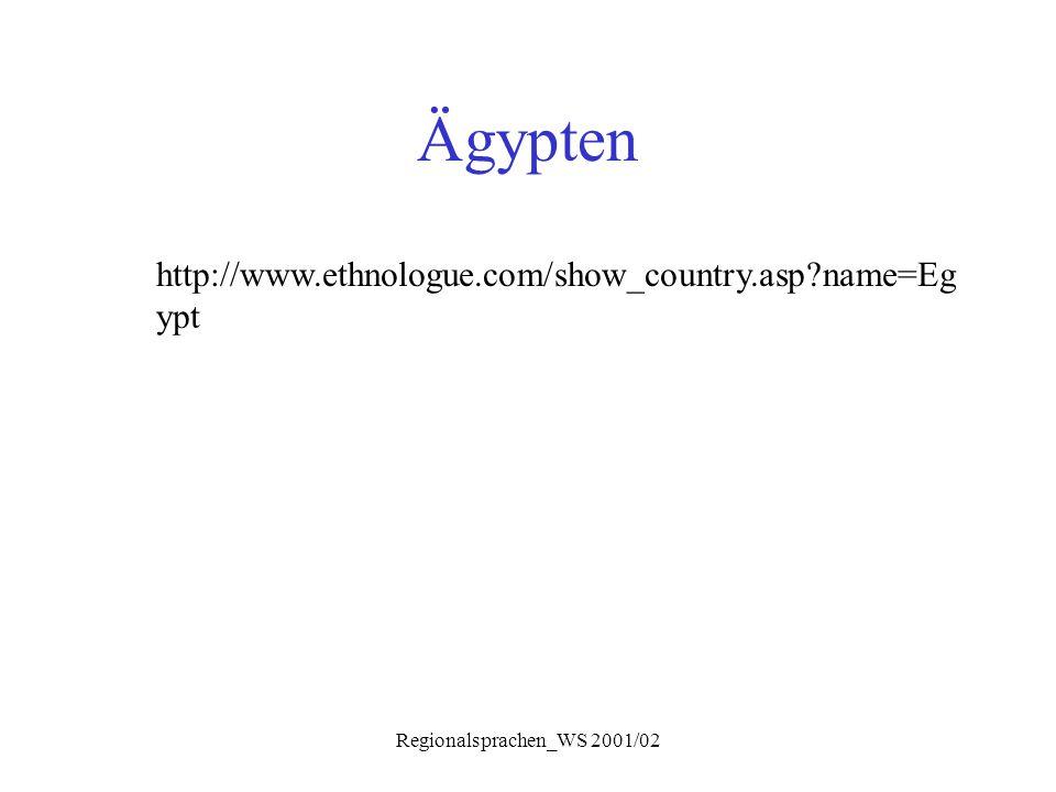Regionalsprachen_WS 2001/02 Ägyptisch-Arabisch Sprachgeschichte  Arabisierung sehr früh; Randgebiete schon vor chr.