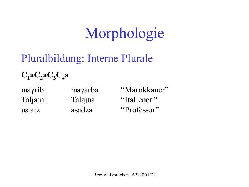 "Regionalsprachen_WS 2001/02 Morphologie Pluralbildung: Interne Plurale C 1 aC 2 aC 3 C 4 a maγribimaγarba""Marokkaner"" Talja:niTalajna ""Italiener "" ust"