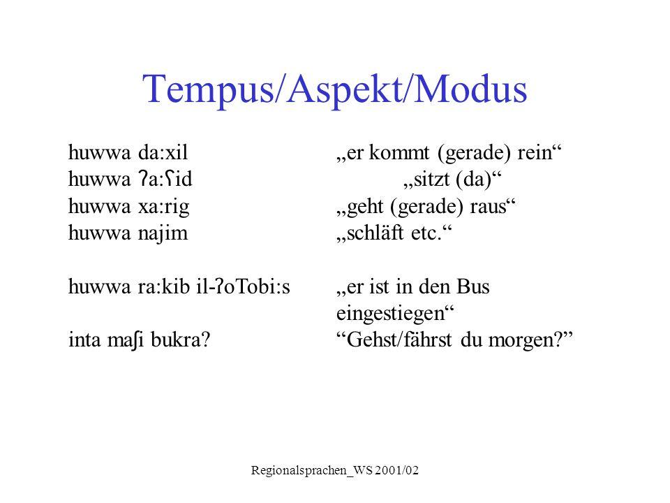 "Regionalsprachen_WS 2001/02 Tempus/Aspekt/Modus huwwa da:xil ""er kommt (gerade) rein"" huwwa ʔ a: ʕ id ""sitzt (da)"" huwwa xa:rig ""geht (gerade) raus"" h"