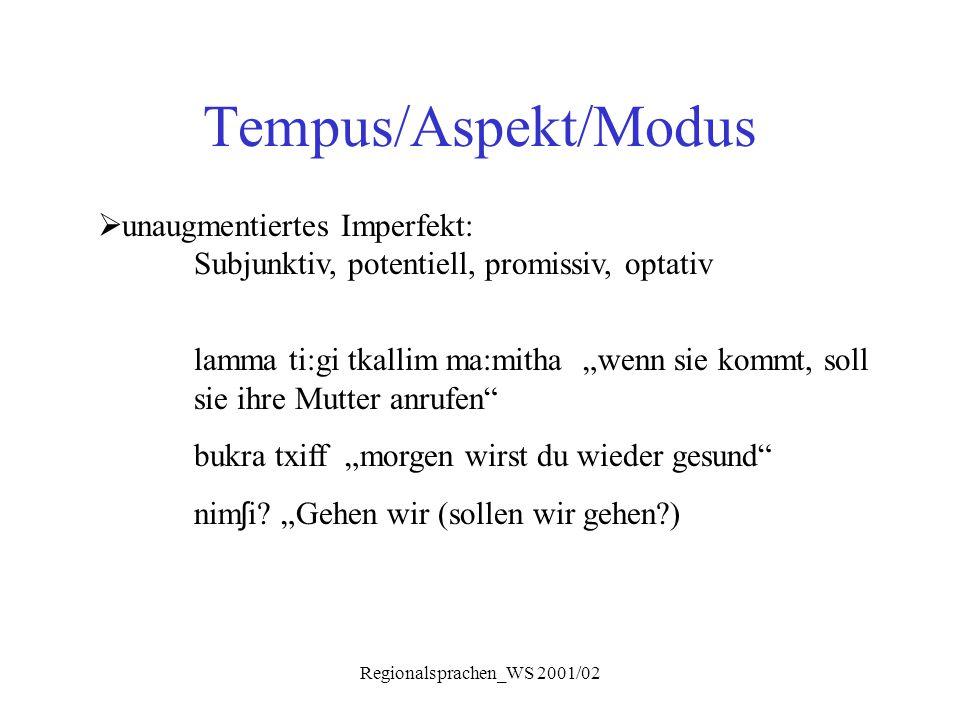 "Regionalsprachen_WS 2001/02 Tempus/Aspekt/Modus  unaugmentiertes Imperfekt: Subjunktiv, potentiell, promissiv, optativ lamma ti:gi tkallim ma:mitha """