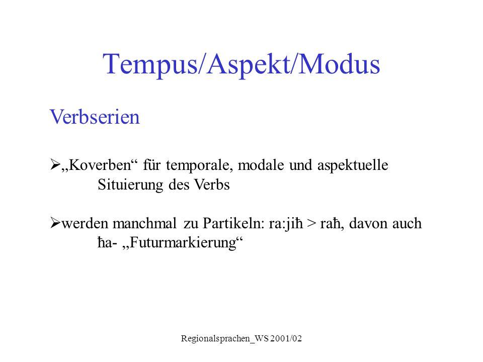 """Regionalsprachen_WS 2001/02 Tempus/Aspekt/Modus Verbserien  """"Koverben"""" für temporale, modale und aspektuelle Situierung des Verbs  werden manchmal z"""