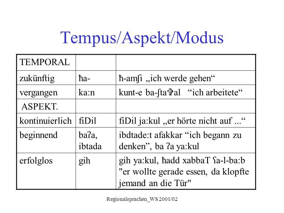 """Regionalsprachen_WS 2001/02 Tempus/Aspekt/Modus TEMPORAL zukünftigħa- ħ-am ʃ i """"ich werde gehen"""" vergangenka:n kunt-e ba- ʃ ta  al """"ich arbeitete"""" AS"""