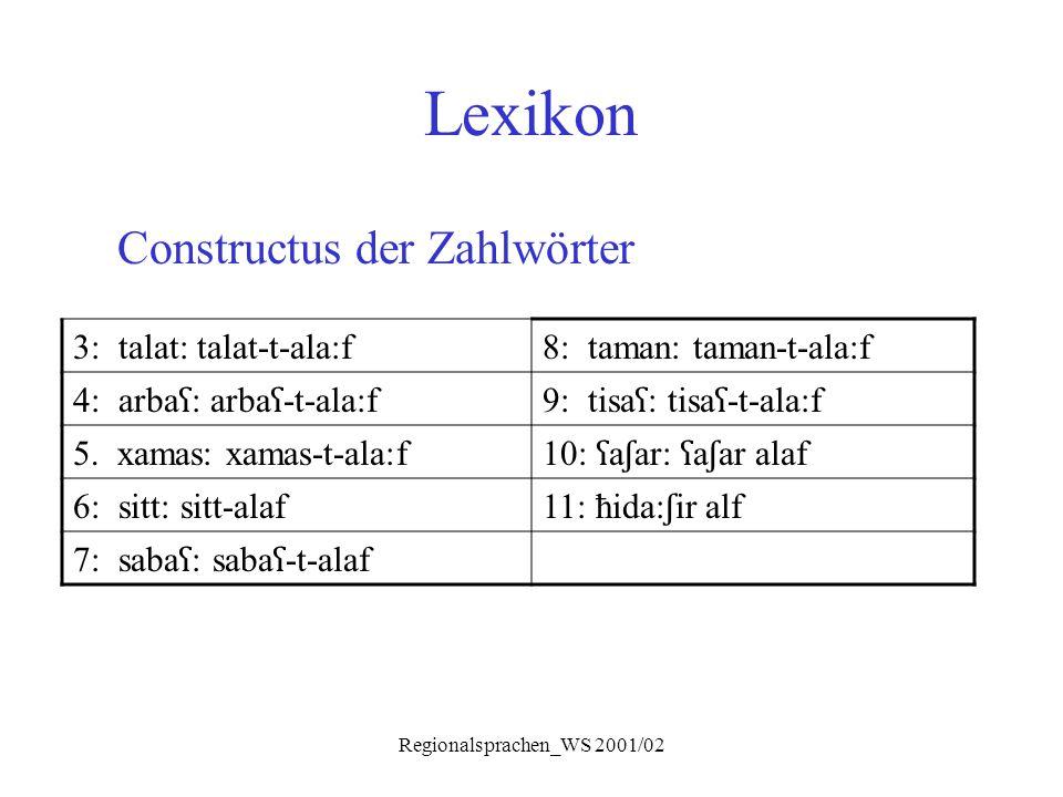 Regionalsprachen_WS 2001/02 Lexikon Constructus der Zahlwörter 3: talat: talat-t-ala:f8: taman: taman-t-ala:f 4: arba ʕ : arba ʕ -t-ala:f9: tisa ʕ : t