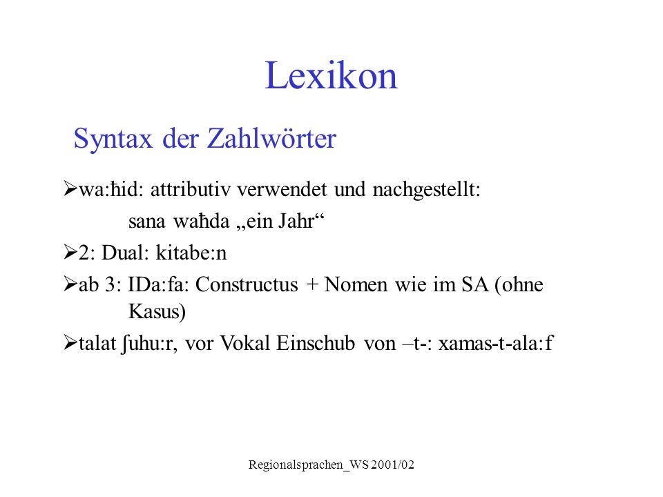 """Regionalsprachen_WS 2001/02 Lexikon Syntax der Zahlwörter  wa:ħid: attributiv verwendet und nachgestellt: sana waħda """"ein Jahr""""  2: Dual: kitabe:n """