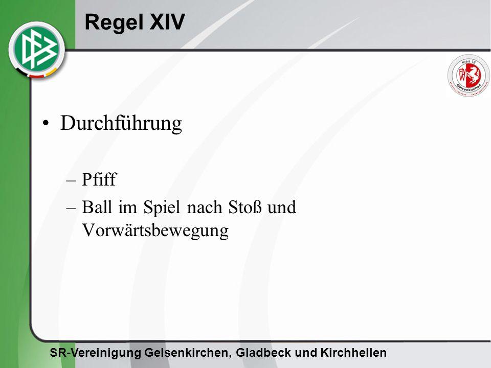 SR-Vereinigung Gelsenkirchen, Gladbeck und Kirchhellen Regel XIV Durchführung –Pfiff –Ball im Spiel nach Stoß und Vorwärtsbewegung