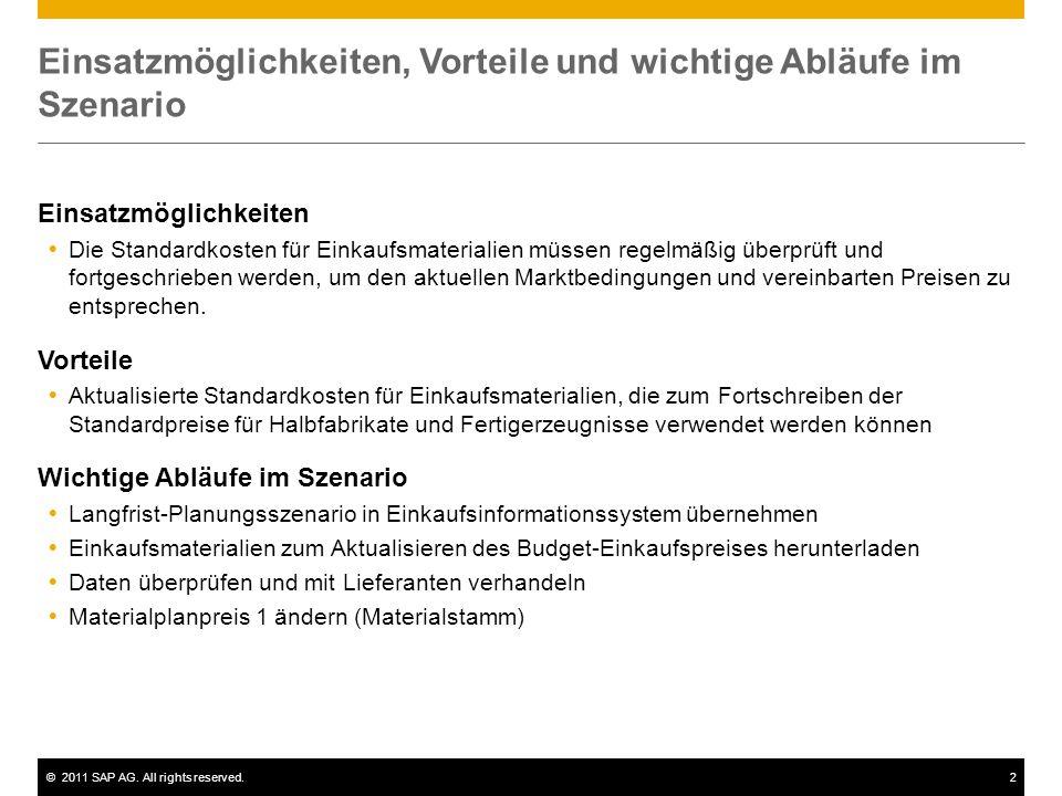 ©2011 SAP AG. All rights reserved.2 Einsatzmöglichkeiten, Vorteile und wichtige Abläufe im Szenario Einsatzmöglichkeiten  Die Standardkosten für Eink
