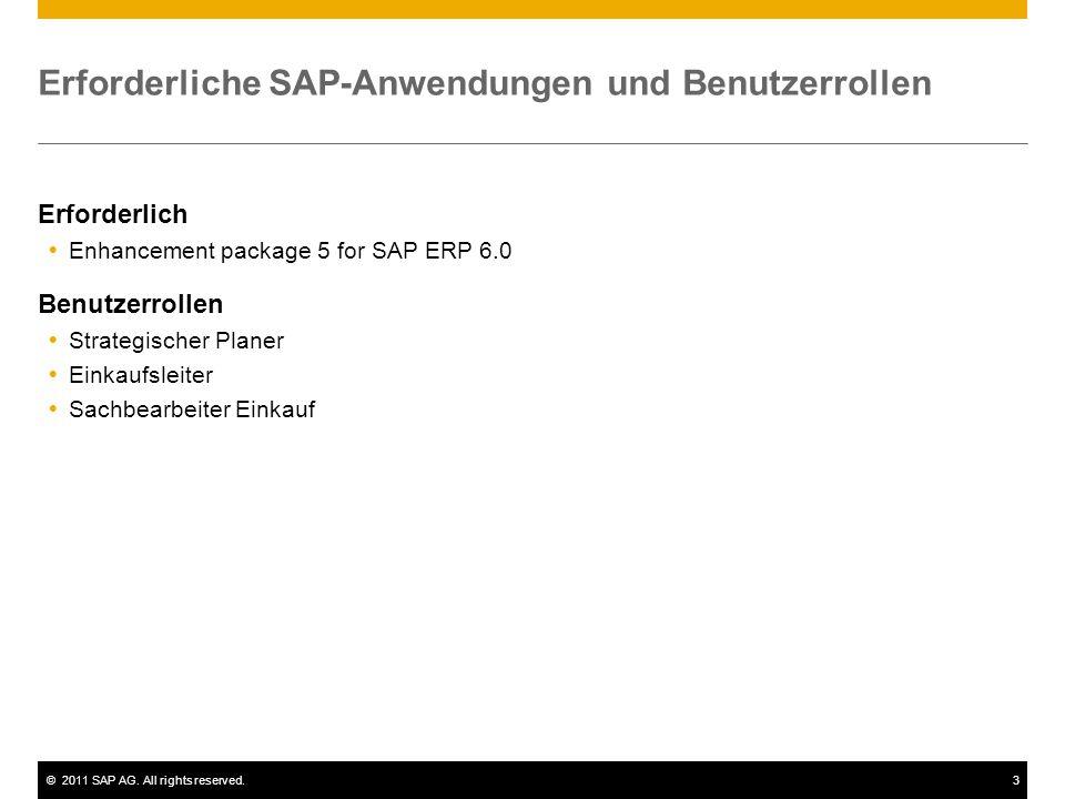 ©2011 SAP AG. All rights reserved.3 Erforderliche SAP-Anwendungen und Benutzerrollen Erforderlich  Enhancement package 5 for SAP ERP 6.0 Benutzerroll
