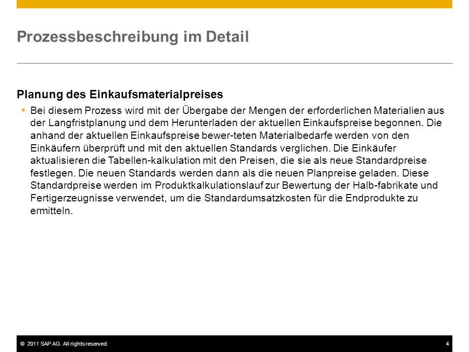 ©2011 SAP AG. All rights reserved.4 Prozessbeschreibung im Detail Planung des Einkaufsmaterialpreises  Bei diesem Prozess wird mit der Übergabe der M