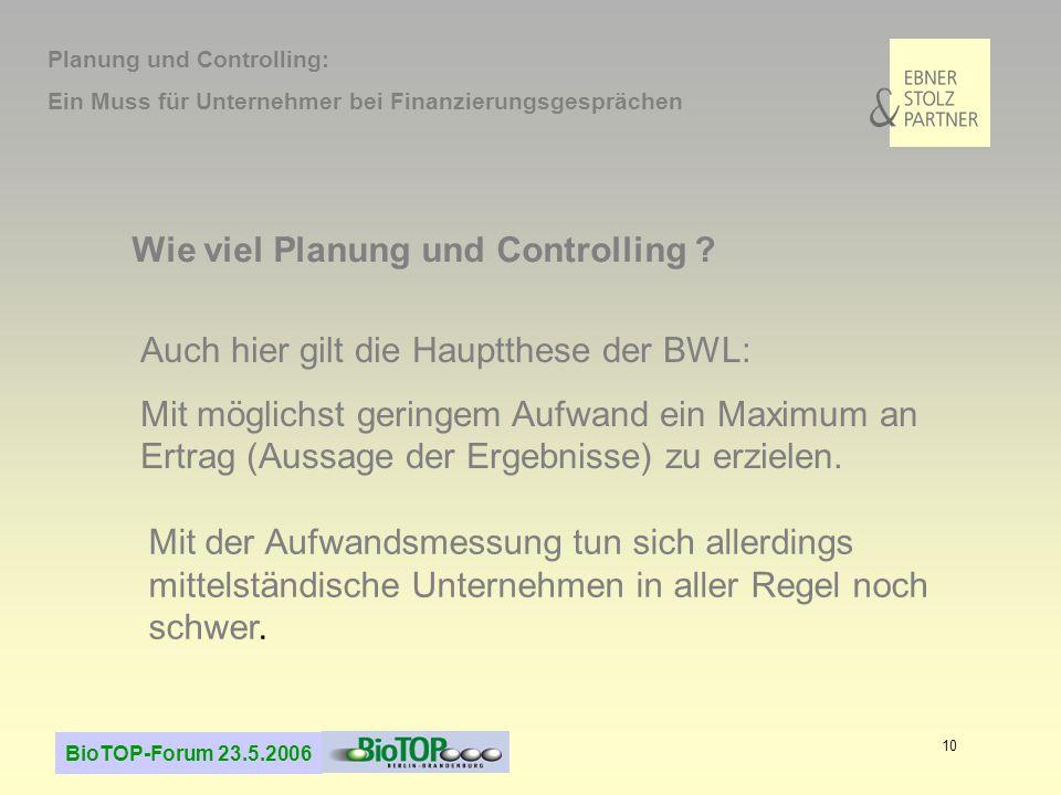 BioTOP-Forum 23.5.2006 10 Wie viel Planung und Controlling .