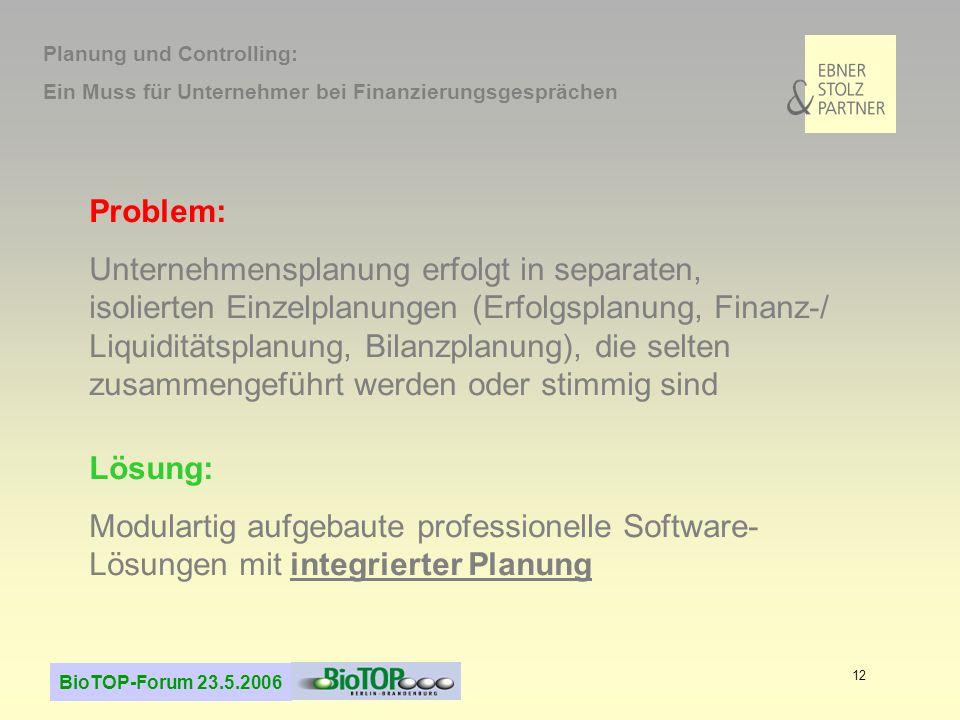 BioTOP-Forum 23.5.2006 12 Problem: Unternehmensplanung erfolgt in separaten, isolierten Einzelplanungen (Erfolgsplanung, Finanz-/ Liquiditätsplanung,