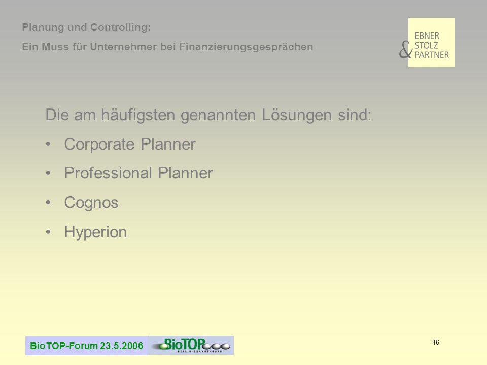 BioTOP-Forum 23.5.2006 16 Die am häufigsten genannten Lösungen sind: Corporate Planner Professional Planner Cognos Hyperion Planung und Controlling: Ein Muss für Unternehmer bei Finanzierungsgesprächen