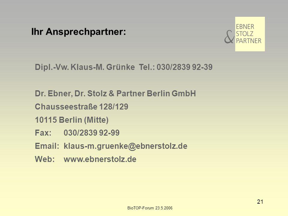 BioTOP-Forum 23.5.2006 21 Dipl.-Vw. Klaus-M. Grünke Tel.: 030/2839 92-39 Dr. Ebner, Dr. Stolz & Partner Berlin GmbH Chausseestraße 128/129 10115 Berli