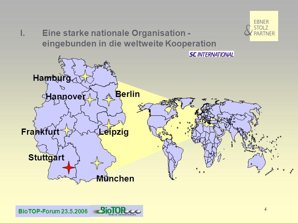 BioTOP-Forum 23.5.2006 4 Stuttgart Frankfurt Leipzig Berlin München Hamburg I.Eine starke nationale Organisation - eingebunden in die weltweite Kooper