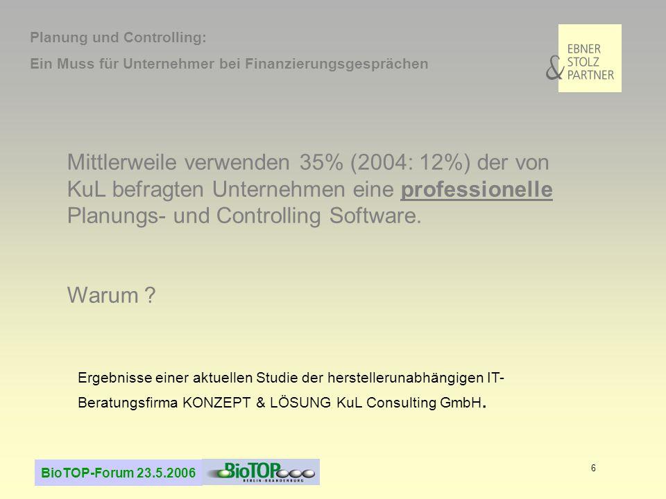 BioTOP-Forum 23.5.2006 6 Mittlerweile verwenden 35% (2004: 12%) der von KuL befragten Unternehmen eine professionelle Planungs- und Controlling Software.