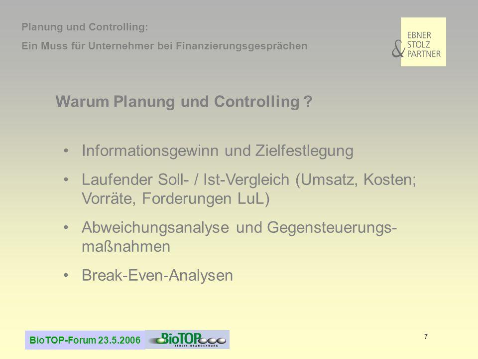 BioTOP-Forum 23.5.2006 7 Warum Planung und Controlling ? Informationsgewinn und Zielfestlegung Laufender Soll- / Ist-Vergleich (Umsatz, Kosten; Vorrät
