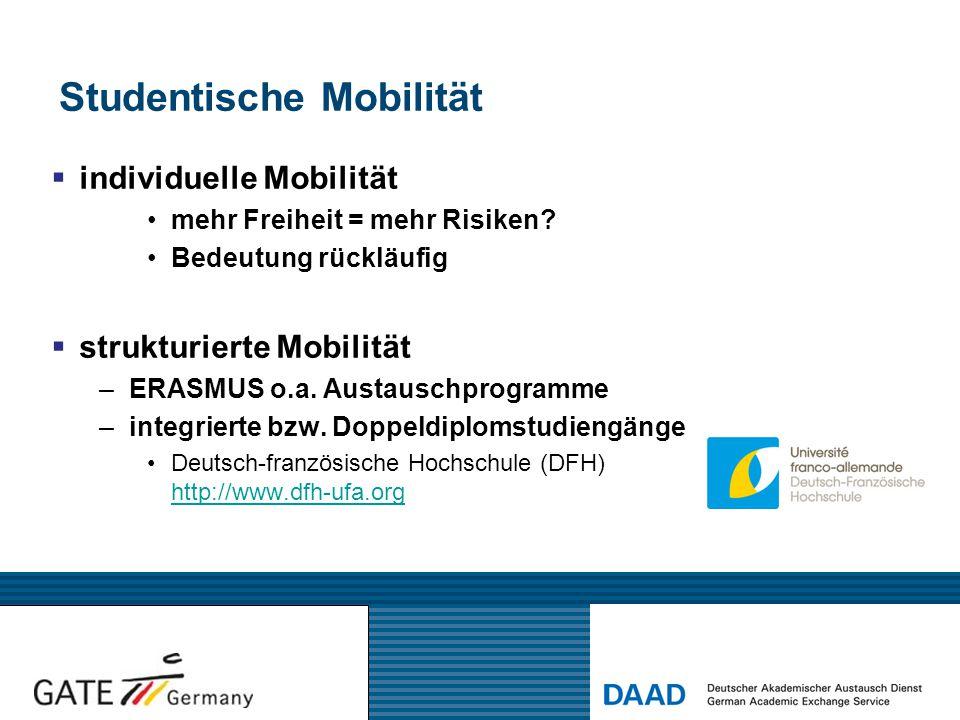 Studentische Mobilität  individuelle Mobilität mehr Freiheit = mehr Risiken? Bedeutung rückläufig  strukturierte Mobilität –ERASMUS o.a. Austauschpr