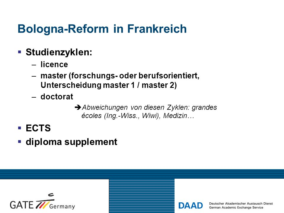 Bologna-Reform in Frankreich  Studienzyklen: –licence –master (forschungs- oder berufsorientiert, Unterscheidung master 1 / master 2) –doctorat  Abw