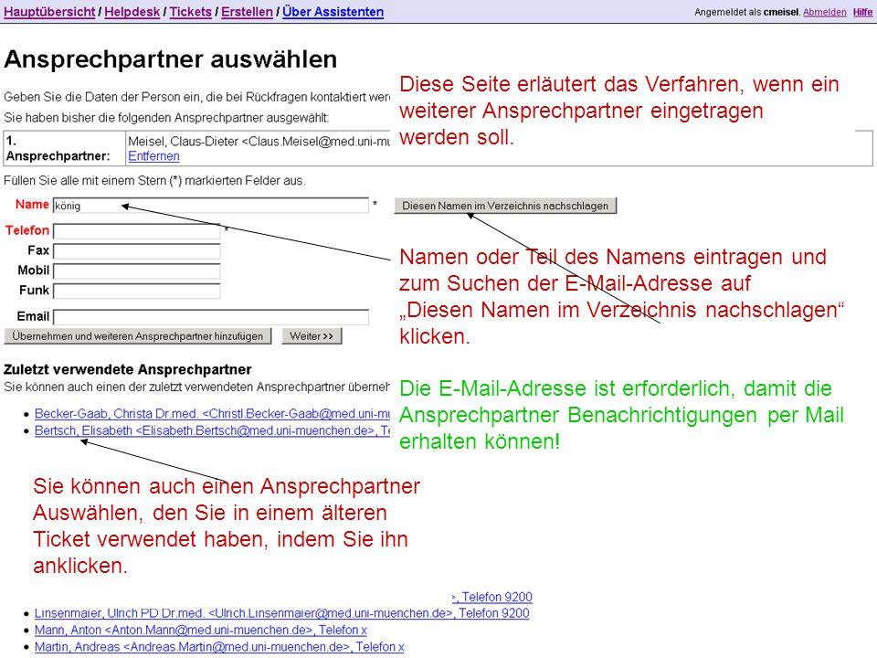 """Namen oder Teil des Namens eintragen und zum Suchen der E-Mail-Adresse auf """"Diesen Namen im Verzeichnis nachschlagen klicken."""