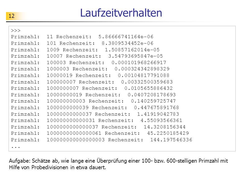 12 Laufzeitverhalten >>> Primzahl: 11 Rechenzeit: 5.86666741164e-06 Primzahl: 101 Rechenzeit: 8.3809534452e-06 Primzahl: 1009 Rechenzeit: 1.5085716201
