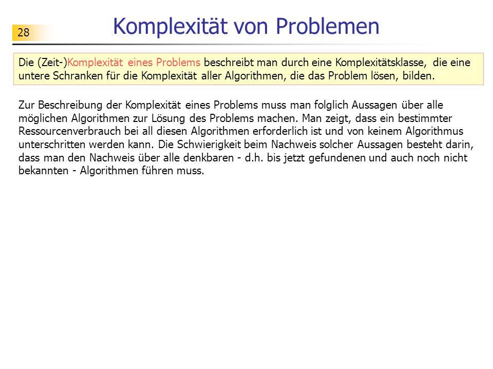 28 Komplexität von Problemen Zur Beschreibung der Komplexität eines Problems muss man folglich Aussagen über alle möglichen Algorithmen zur Lösung des