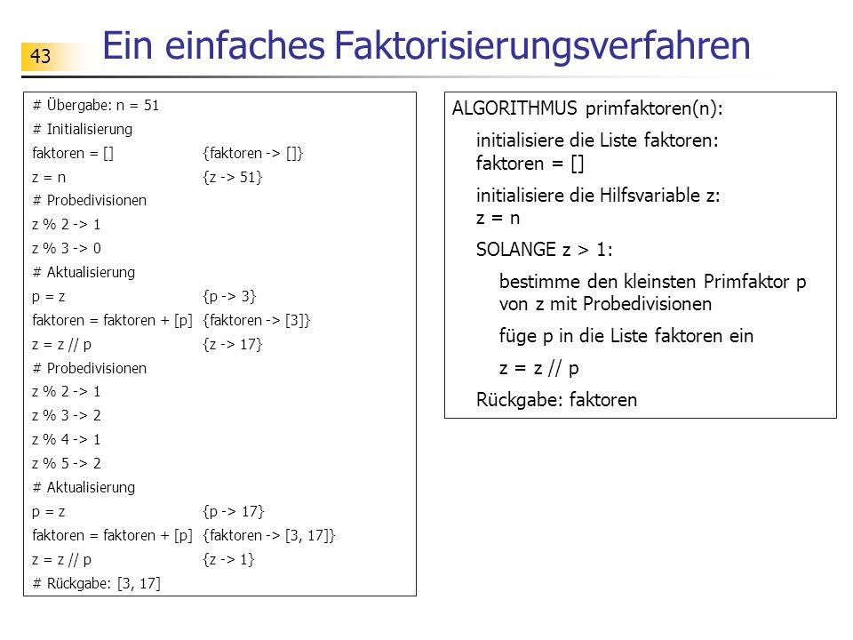 43 Ein einfaches Faktorisierungsverfahren # Übergabe: n = 51 # Initialisierung faktoren = [] {faktoren -> []} z = n {z -> 51} # Probedivisionen z % 2
